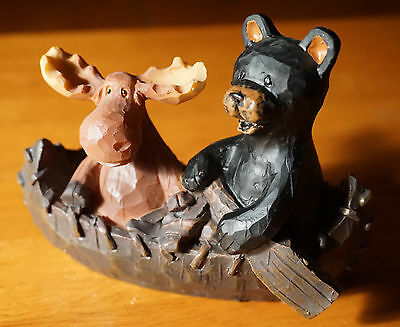 MOOSE & BLACK BEAR IN WOOD CARVED CANOE Country Lodge Cabin Figurine Decor NEW