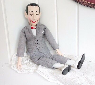 """PEEWEE HERMAN 26"""" VENTRILOQUIST WORKING DOLL Mouth Moves w/ string GUC"""