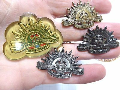 Ww11 Aif Australian Rising Sun Badges Collars, Shoulder Titles And Sweetheart