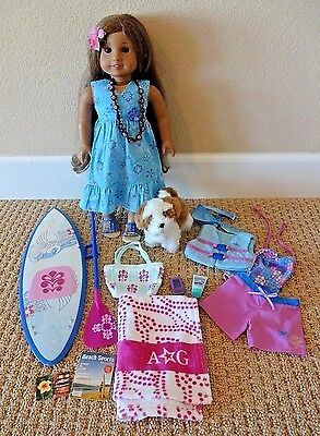"""AMERICAN GIRL Kanani 18"""" Doll Starter Collection Paddleboard Beach Accessories"""