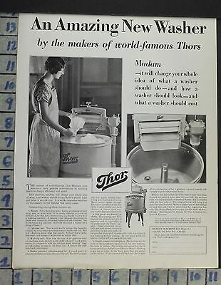 1929 Home Decor Laundry Room Thor Wash Machine Clothes Hurley Vintage Ad Cp8