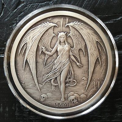 Antique Finish-Temptation of the Succubus, 2oz .999 Fine Silver Round-Limited