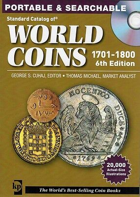 WORLD COINS KRAUSE CATALOGUE VALUES PORTABLE & SEARCHABLE CD 6th EDT 1701- 1800