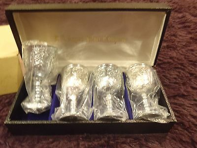 F. B. Rogers Silver Company Set of 4 Plated Wine Goblets in Case- Made in Japan