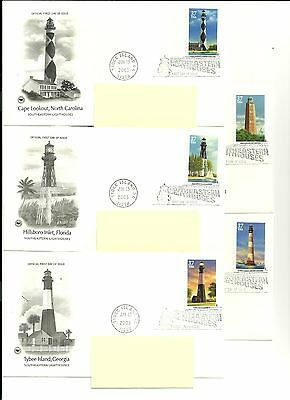 Us Fdc Lighthouses Postage Stamp Psc Cachet 6 Scan Photos