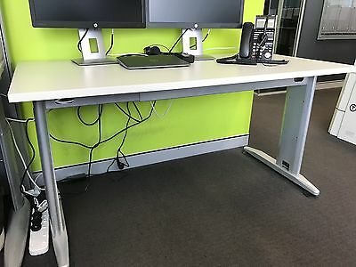 White Office Straight Desk with cable management - Desk only