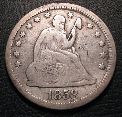 Old Us Coins 1858 Liberty Seated Quarter Beauty