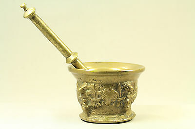 = Antique 1600's French Oré Bronze Pharmaceutical Mortar & Pestle, Fleur-de-Lis