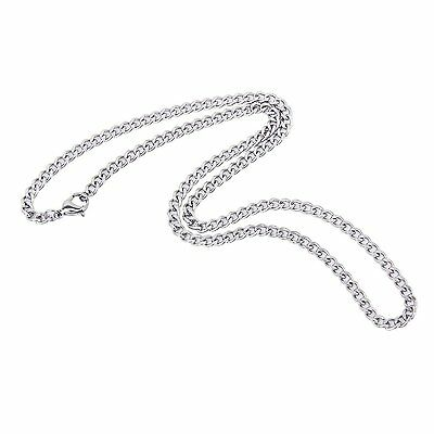 Steampunk 4mm Stainless Steel Curb Cuban Chain Necklace 20 Inches for Men/Women