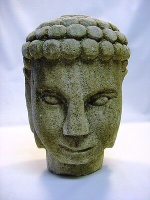 "~! Antique 15"" Carved Sandstone Large Head of Buddha Statue Figure"