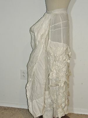 ca 1870's Victorian  Embroidered Cotton Ruffled Bustle Skirt or Petticoat SM