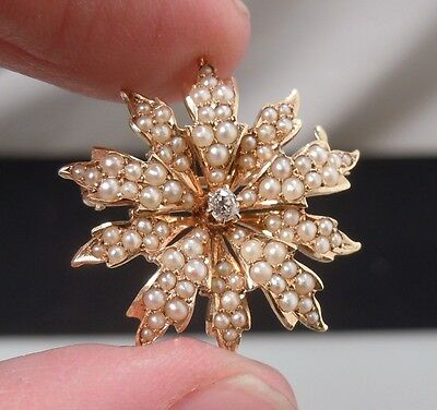 Antique /Vintage 14K Gold Seed Pearl & Diamond Pendant Brooch