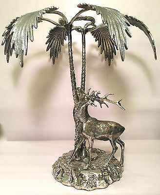 Valenti Spain Silvered-Metal Stag beneath Two Palm Trees 20th Century Decorative