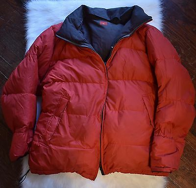 Vintage Nautica Competition Puffer Jacket Red Brown Full Zip 90's Mens Xxl