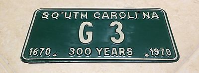 1670 1970 South Carolina 300 YEARS LOW NUMBER License Plate G 3 SINGLE DIGIT