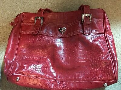 Buxton Red Leather Laptop Computer Case Bag Texas Style With Heart