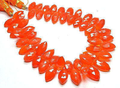 "PH-091 Carnelian Marquise Faceted Gem Beads 6.5x12mm-8x15.5mm 163Ct 8.5"" Strand"