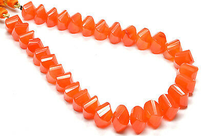 """PH-092 Carnelian Twisted Square Faceted Gemstone Beads 8mm-9.5mm 140Ct 8"""" Strand"""