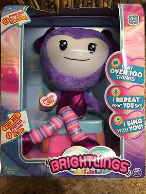 "NEW Brightlings Interactive Singing Talking 15"" Plush  Purple"