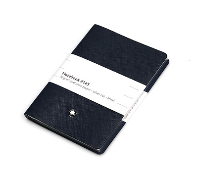 Montblanc Note Pad 113598 #145 Navy Leather (8.3cm x 11.2cm x 1cm) Authentic