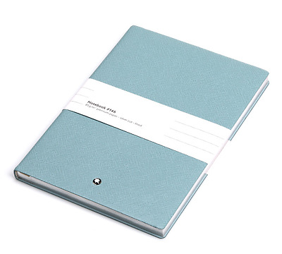 Montblanc Note Pad 114970 #146 Blue Leather (14cm x 21cm x 1.4cm) Authentic