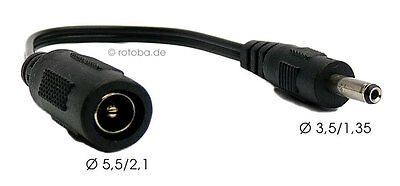 DC-Stecker Adapter Ø 5,5/2,1 Buchse -> 3,5/1,35 Hohlstecker Notebook ~18cm Kabel