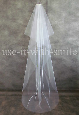 Ivory / White / Off White 2 Tier Chapel Length Wedding Veil With Cut Edge New Uk