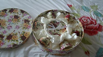 6 small coffer cups with saucers pretty floral rose new in box