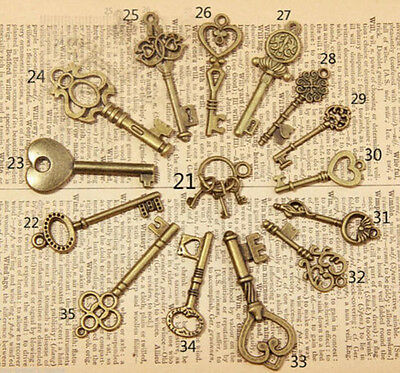 15pcs Mixed Random Antique Alloy Vintage Old Look Key Lot Bow Charm Pandent