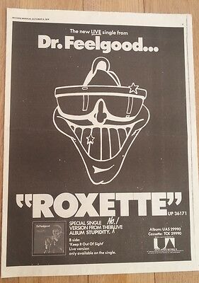 DR FEELGOOD 'Roxette' single 1976 UK Poster size Press ADVERT 16x12 inches