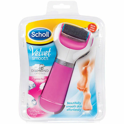Scholl Velvet Smooth Express Pedi Electronic Foot File Diamond Crystals Pink