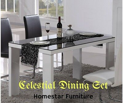 Celestial 7pc Dining Set - Dining Table and 6 Chairs PU Leather Black and White