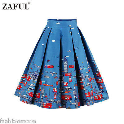 6599588a3 ZAFUL Retro 50s Vintage Style ROCK N ROLL Ladies Skirt Pinup Swing Midi  Dress