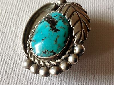 Vintage South Western Sterling Silver Turquoise Native American Navajo Brooch