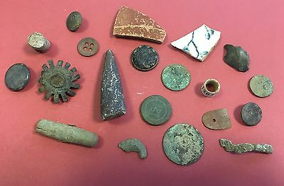 Metal detecting finds inc Fossil and Bird Ring