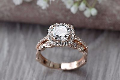 2.50CT Cushion-Cut Diamond Halo Bridal Set Engagement Ring 14k Rose Gold Over