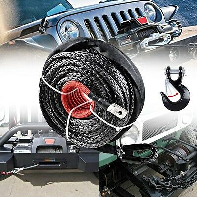12000+ LBs Gray Synthetic Winch Rope Recovery Cable + Steel Hook 12mm x 82 Feet