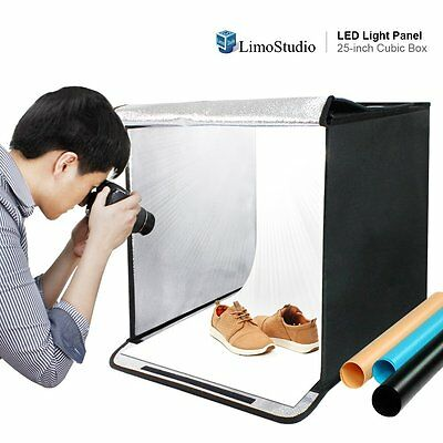 LimoStudio 25 Inch Cube Box Black LED Lighting Table Top Photo Shooting Product
