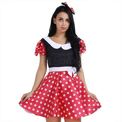 Women's Halloween Minnie Mouse Fancy Dress Adult Polka Dots Hens Party Costumes