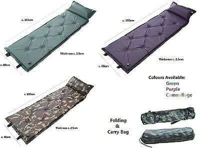 Self Inflating Camping Mat Pad Mattress Pad Pillow Green Purple Camouflage Bag