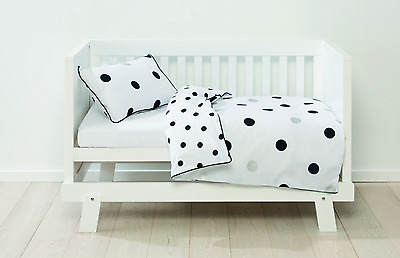 Reversible Polka Dot Baby Cot / Toddler Bed Quilt/Doona Cover Set - Nursery