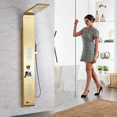 """60""""Golden Brass Shower Panel Waterfall&Rain With Body Massage Jets Tub Spout Tap"""