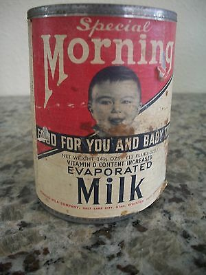 VINTAGE 13 oz SPECIAL MORNING EVAPORATED MILK CAN - PAPER LABEL - 1939