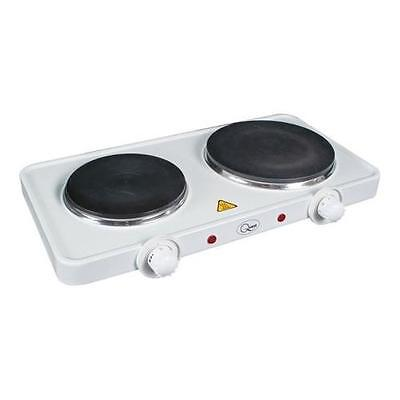 Quest Electric Hot Plate / Boiling Ring / Portable Hob - White Double 35250