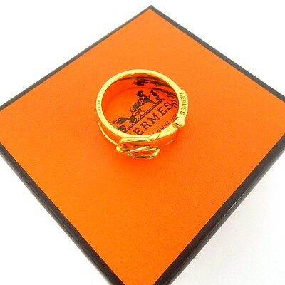 AUTHENTIC HERMES Scarf Ring Belt Motif Gold Tone With Box