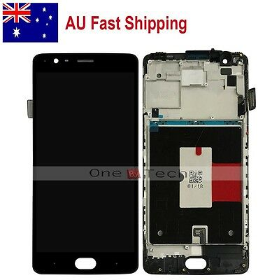"AU 5.5"" OnePlus 3 1+ 3 LTE Black LCD Display+Touch Digitizer Assembly w/Frame"