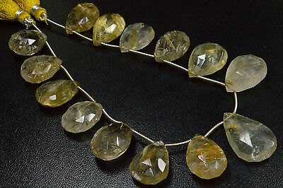 """PH-145 Golden Rutile Gemstone Pear Faceted Beads 13.5x16mm - 15x24mm 182Ct 8"""""""