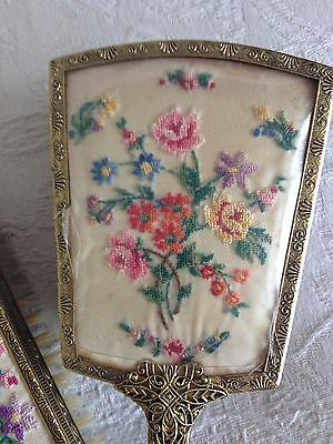 Beautiful Embroidered Dressing Table Set Brush's Mirror