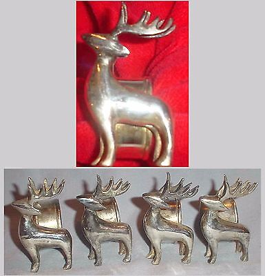 4 REINDEER NAPKIN RINGS SILVER TONE/PLATE  CHRISTMAS TABLE DECOR - PIER 1 1990s