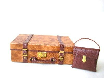 KIT 1/12th scale TRUNK & HANDBAG Tan leather - vintage luggage case bag HB